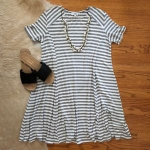 Gray and White Striped Piko Dress - Size Large